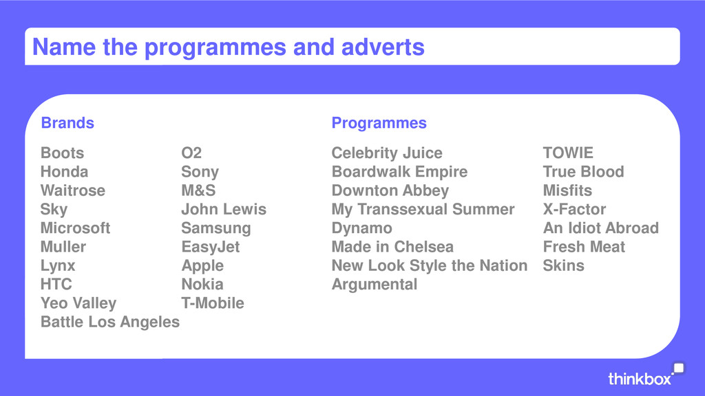 Name the programmes and adverts Boots O2 Honda ...