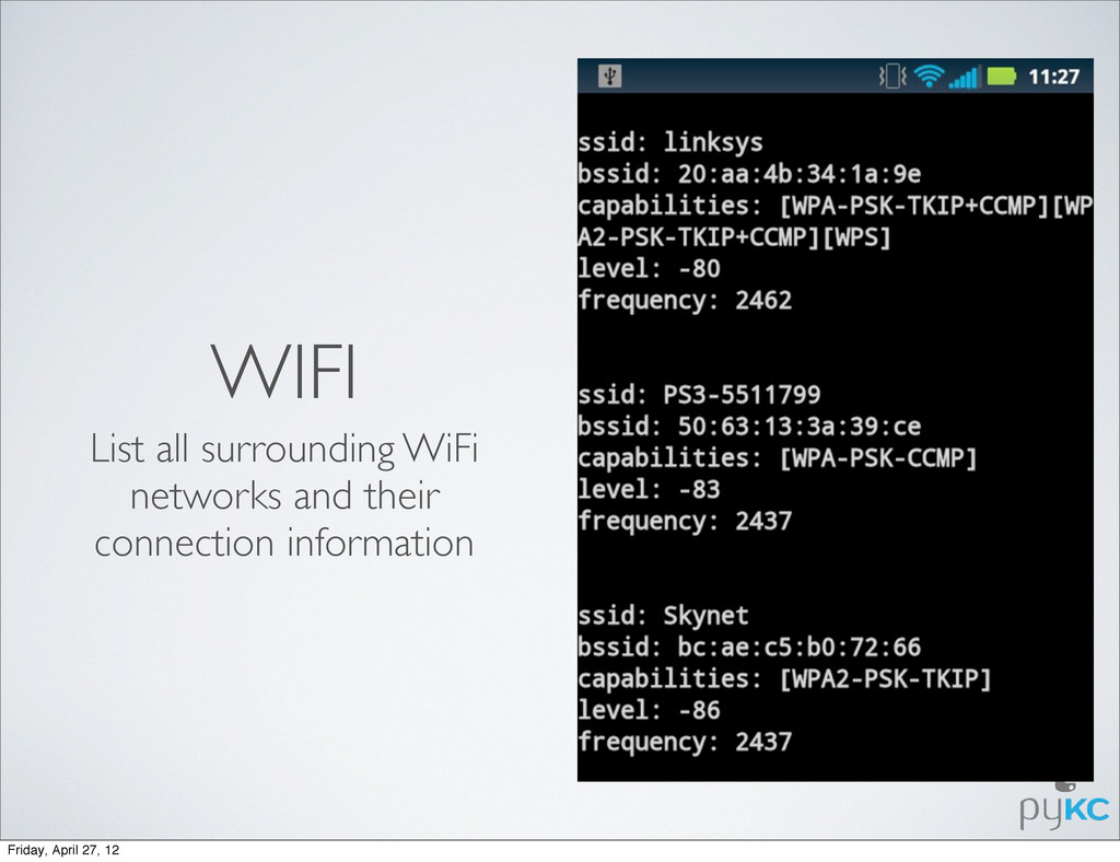 WIFI List all surrounding WiFi networks and the...