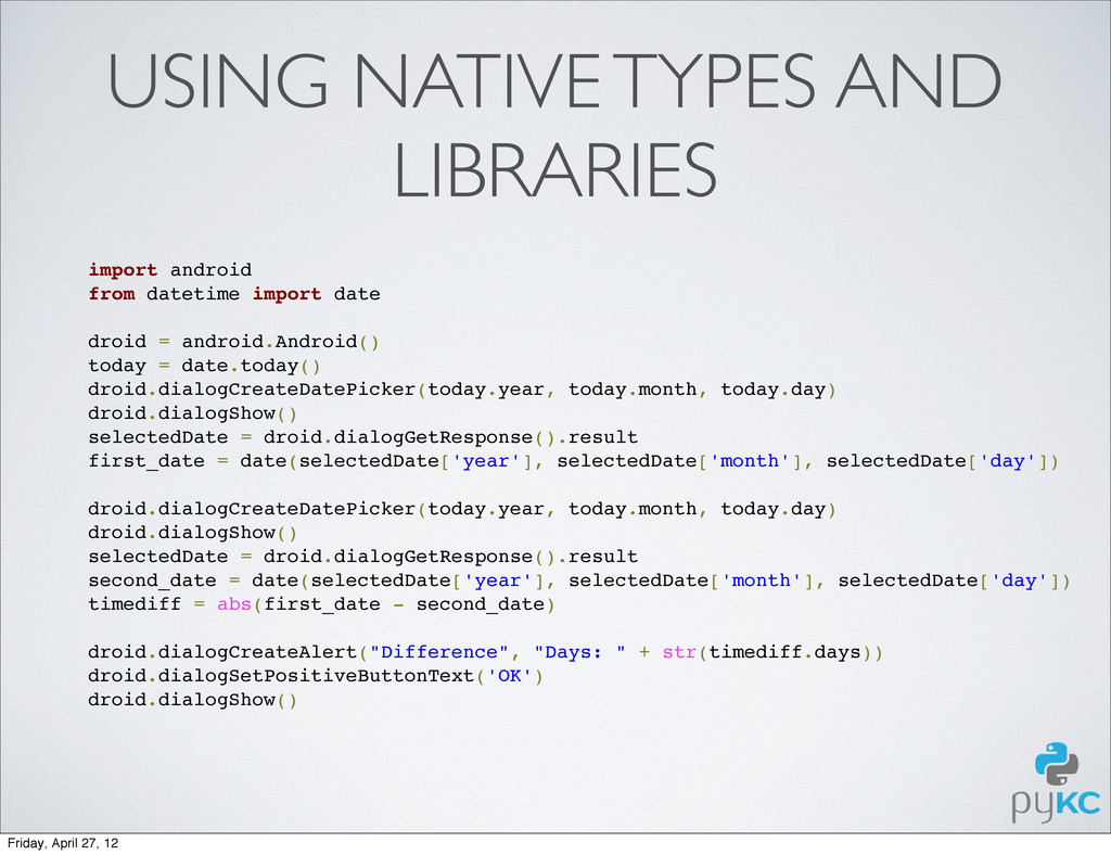 USING NATIVE TYPES AND LIBRARIES import android...