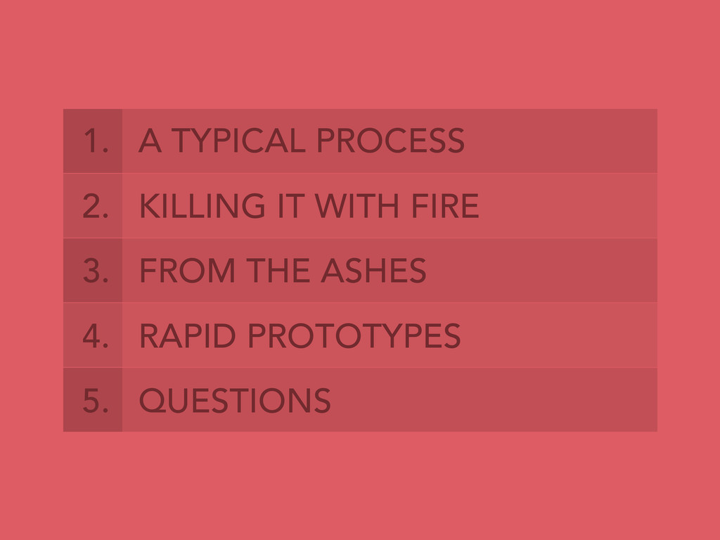 1. A TYPICAL PROCESS 2. KILLING IT WITH FIRE 3....