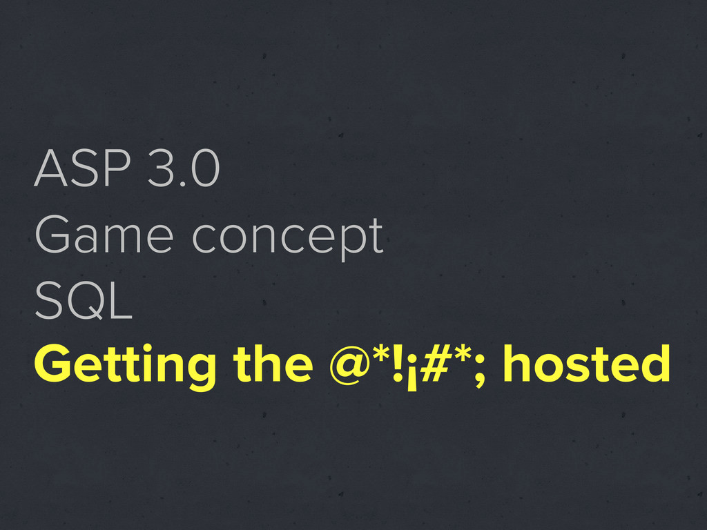 ASP 3.0 Game concept SQL Getting the @*!¡#*; ho...