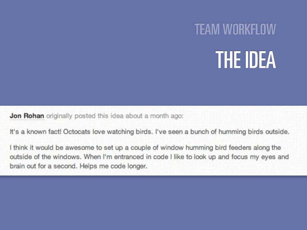 TEAM WORKFLOW THE IDEA