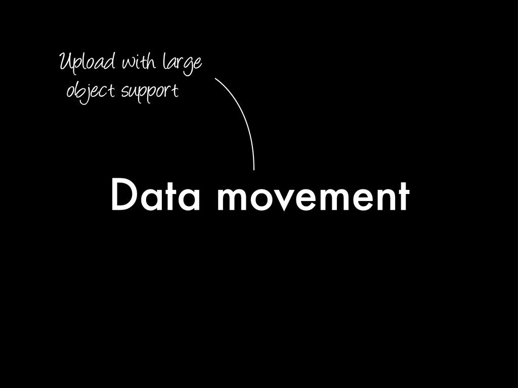 Data movement Upload with large object support