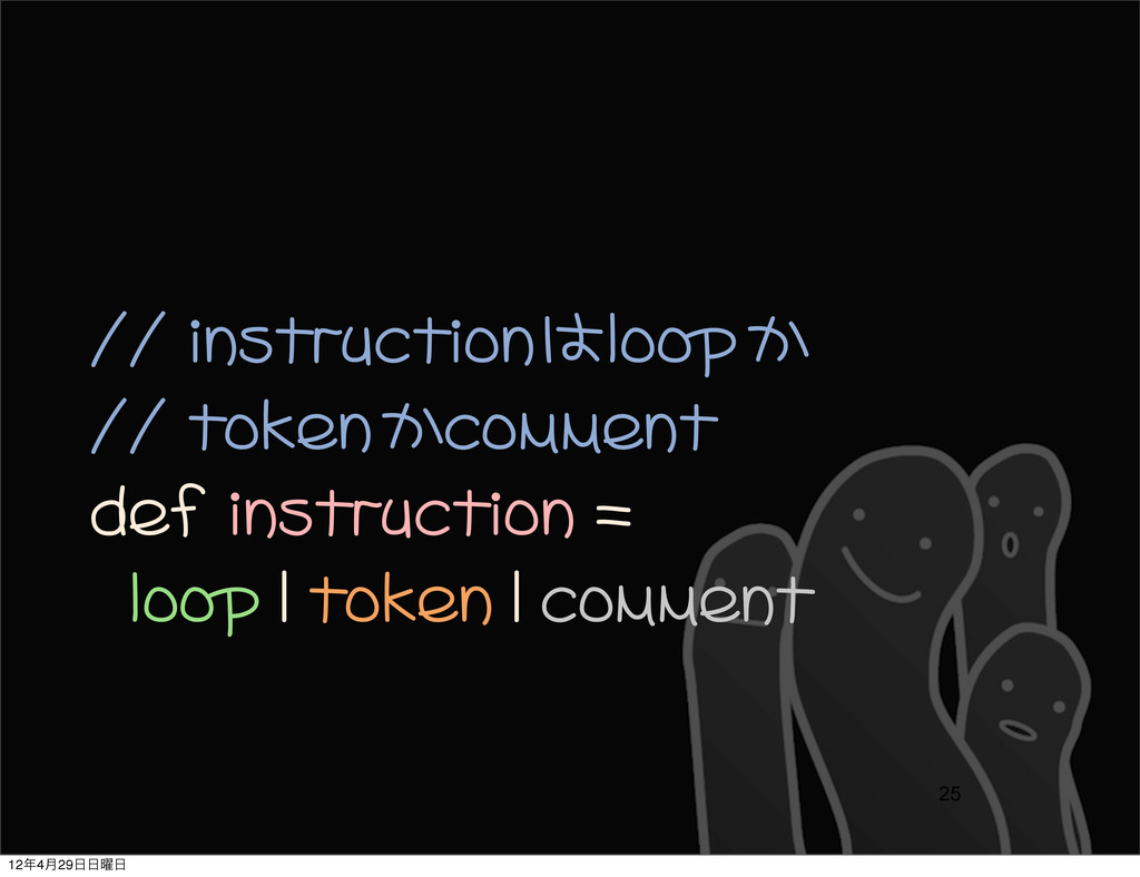 // instructionはloopか // tokenかcomment def in...
