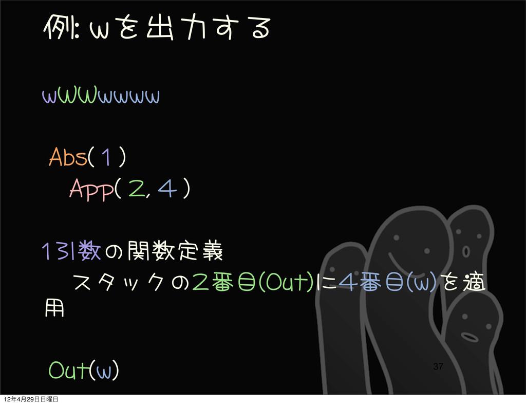例: wを出力する wWWwwww  Abs( 1 )     App( 2...