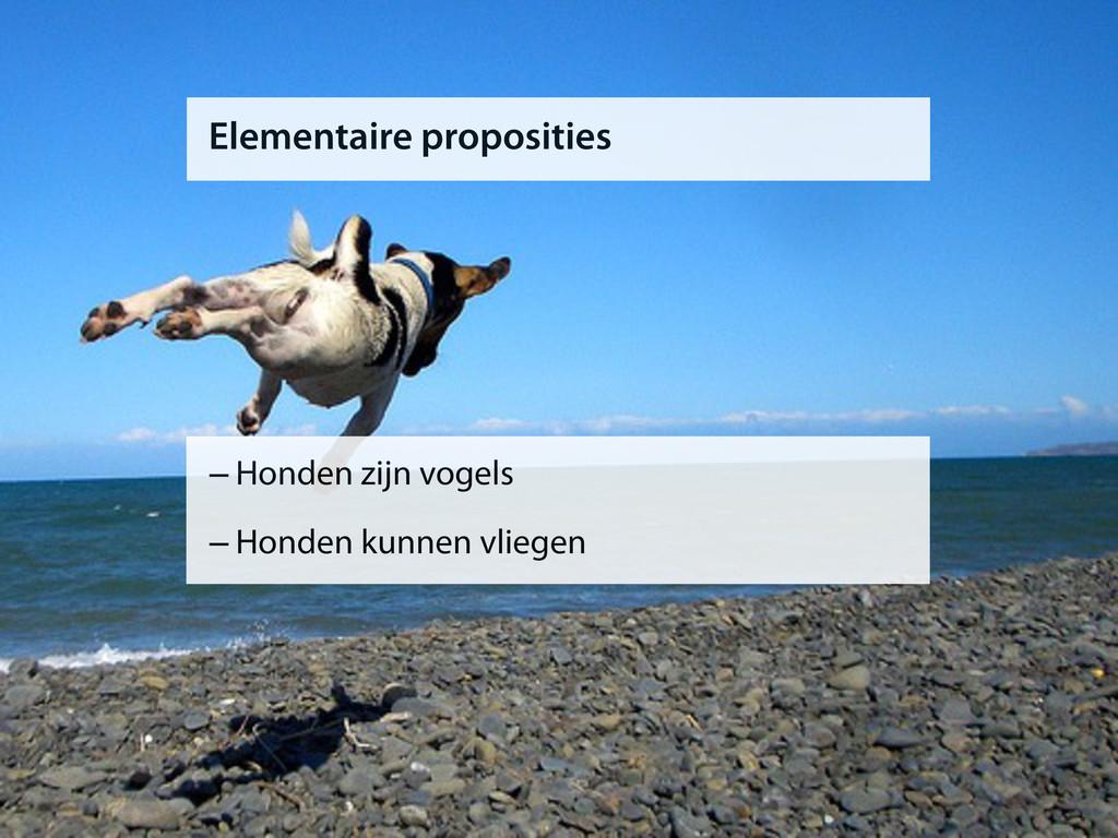 Elementaire proposities –Honden zijn vogels –Ho...