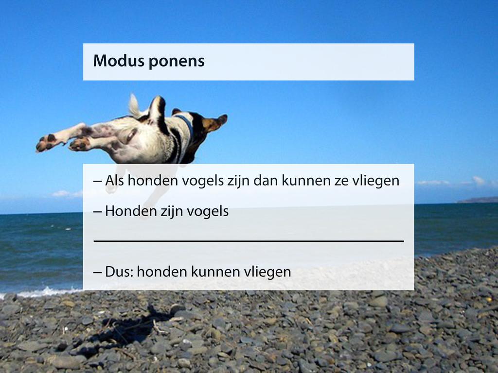 Modus ponens –Als honden vogels zijn dan kunnen...