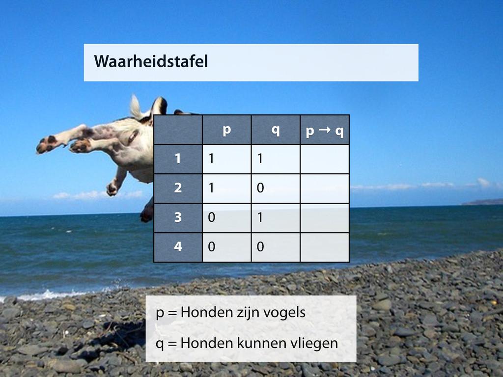 Waarheidstafel p q p → q 1 2 3 4 1 1 1 0 0 1 0 ...