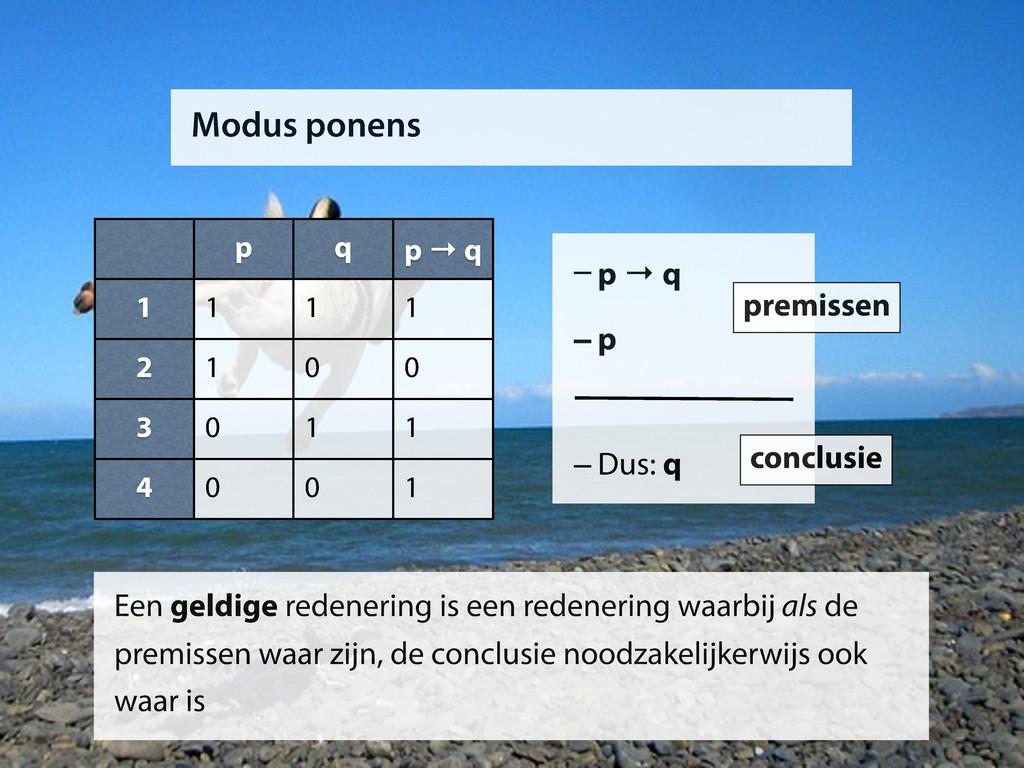 Modus ponens p q p → q 1 2 3 4 1 1 1 1 0 0 0 1 ...