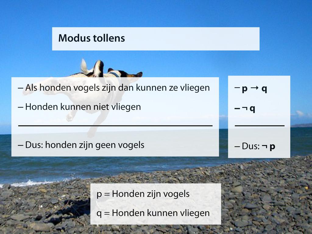 Modus tollens –p → q –¬ q –Dus: ¬ p p = Honden ...