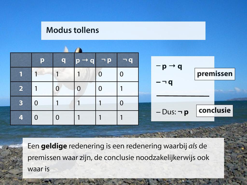 Modus tollens p q p → q ¬ p ¬ q 1 2 3 4 1 1 1 0...