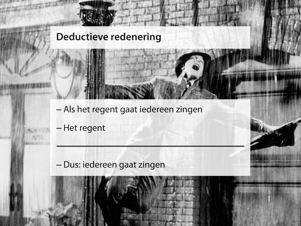 Deductieve redenering –Als het regent gaat iede...