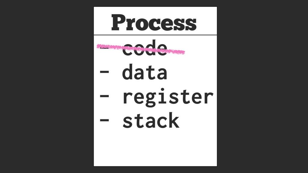 Process - code - data - register - stack