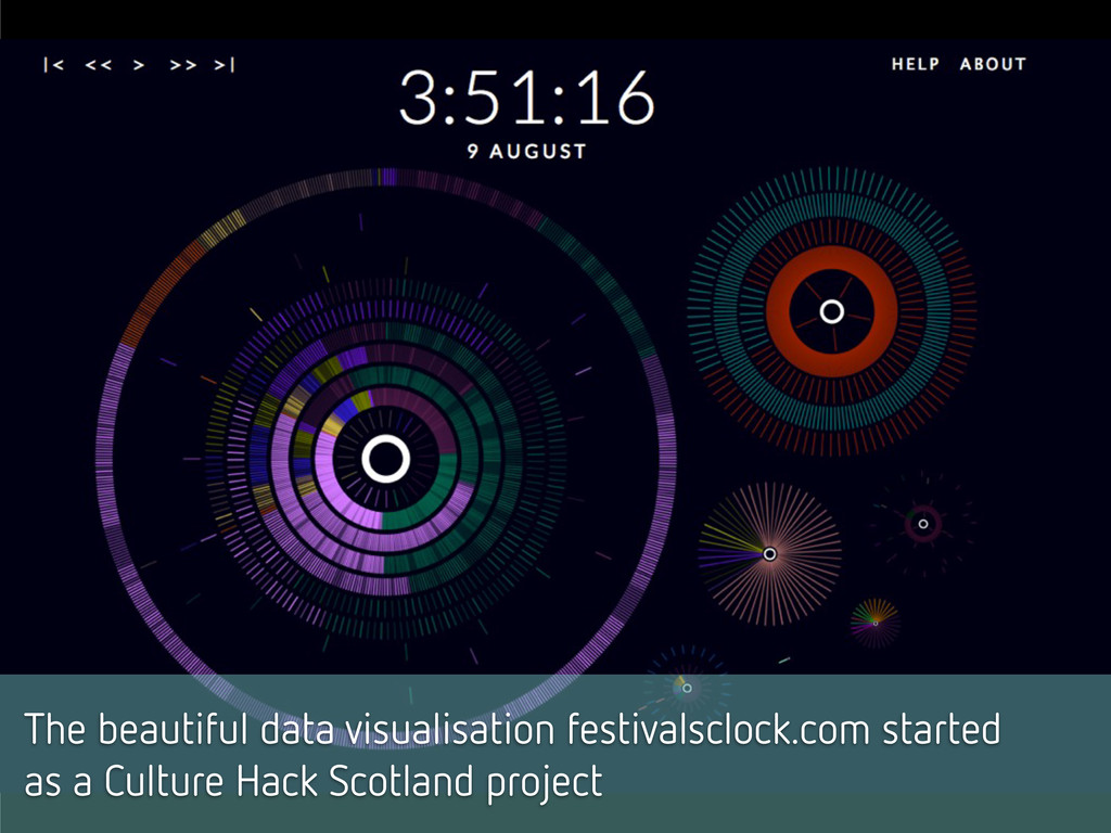 The beautiful data visualisation festivalsclock...