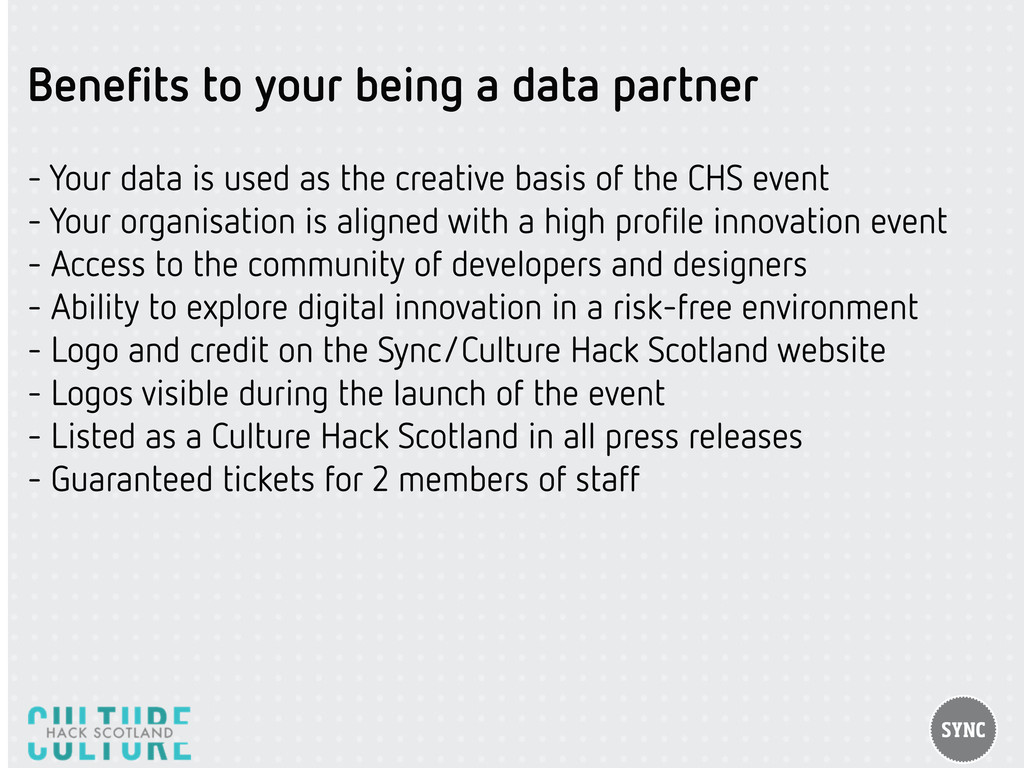 Benefits to your being a data partner - Your dat...