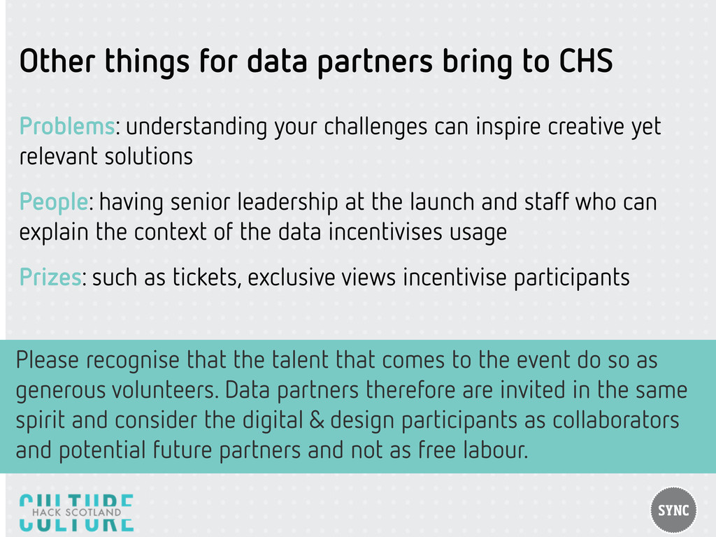 Other things for data partners bring to CHS Pro...