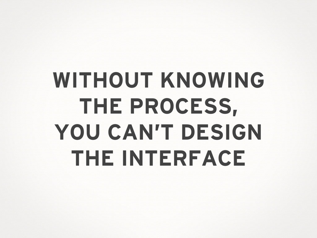 WITHOUT KNOWING THE PROCESS, YOU CAN'T DESIGN T...