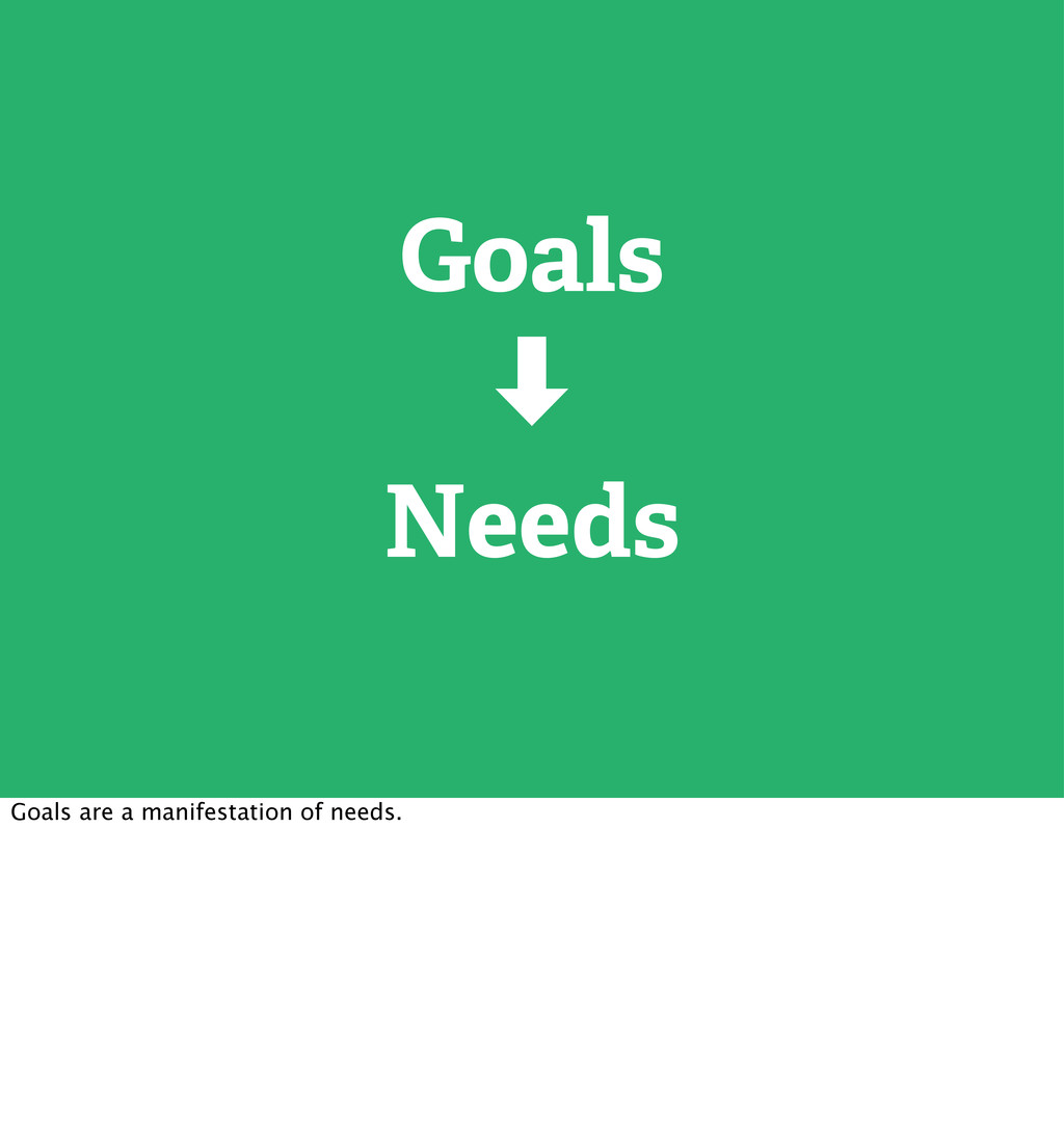 Goals ‑ Needs Goals are a manifestation of need...