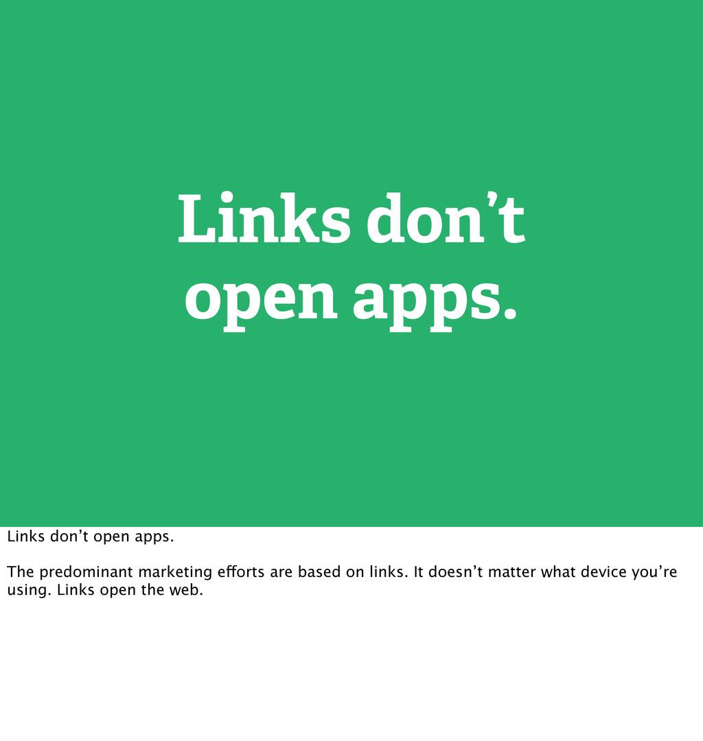 Links don't open apps. Links don't open apps. T...