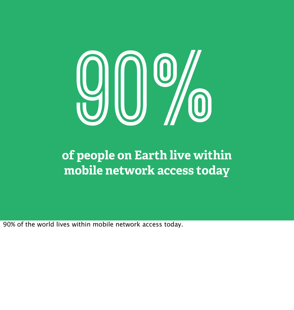 90% of people on Earth live within mobile netwo...
