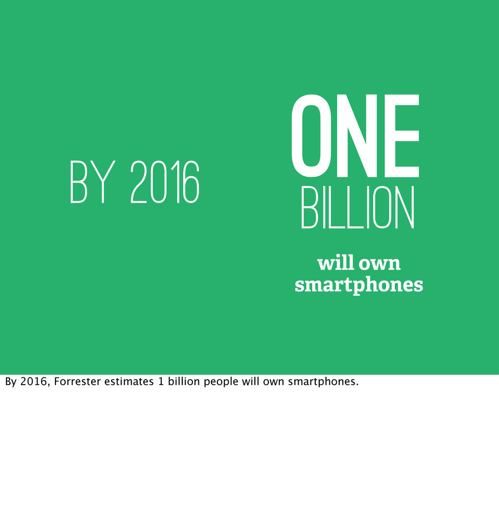 one billion will own smartphones by 2016 By 201...