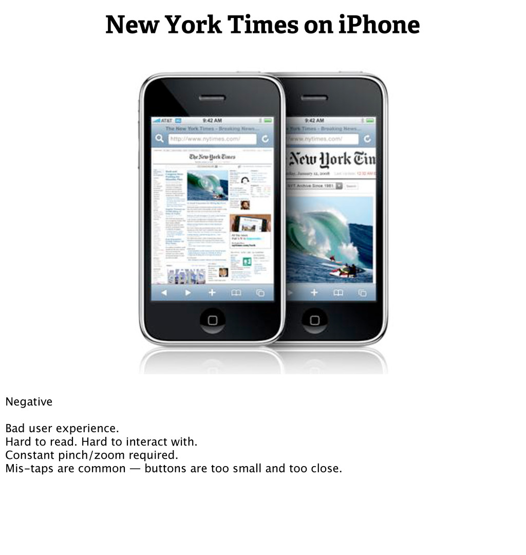 New York Times on iPhone Negative Bad user expe...