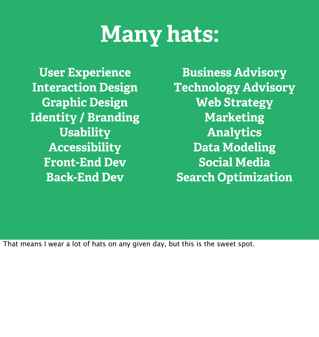Many hats: User Experience Interaction Design G...