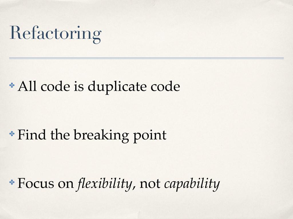 Refactoring ! All code is duplicate code ! Find...