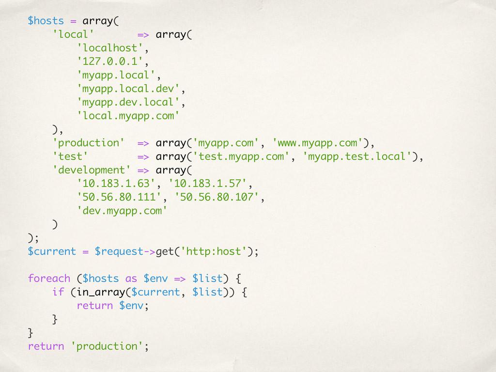 $hosts = array( 'local' => array( 'localhost', ...