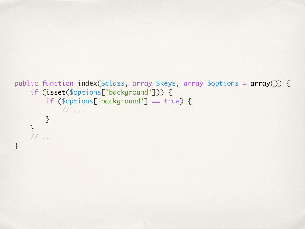 public function index($class, array $keys, arra...