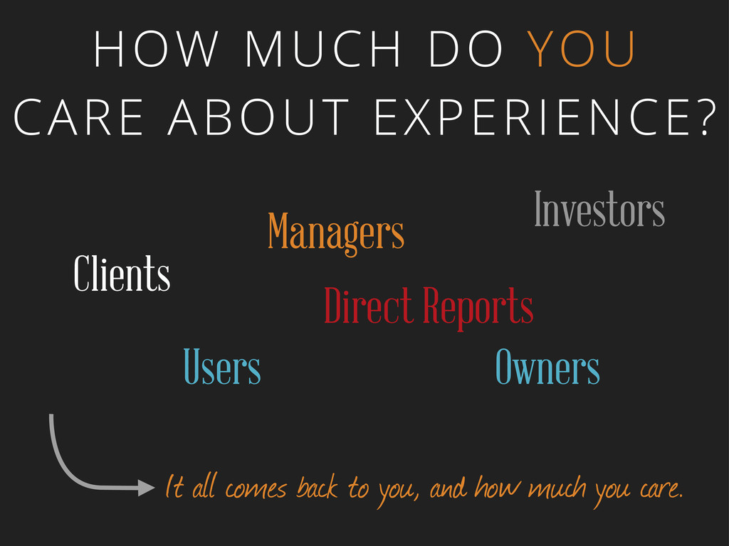 HOW MUCH DO YOU CARE ABOUT EXPERIENCE? Clients ...