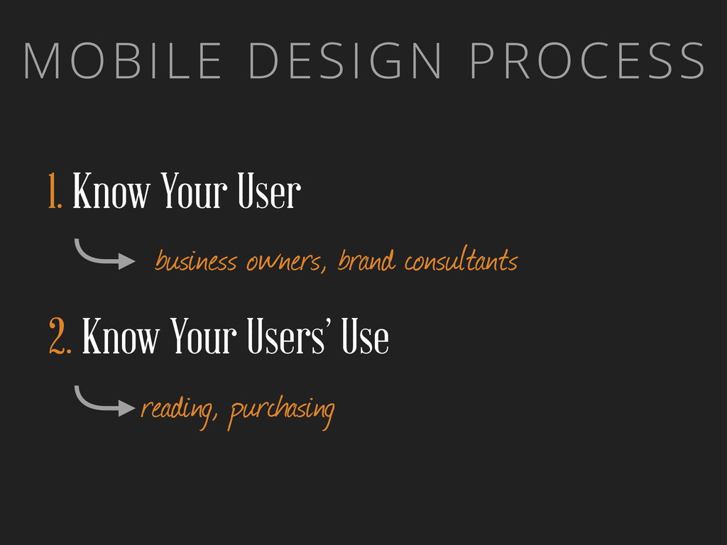 MOBILE DESIGN PROCESS 1. Know Your User busines...