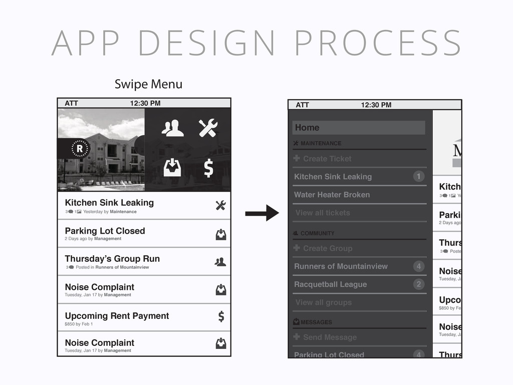 APP DESIGN PROCESS Upcoming Rent Payment Kitche...