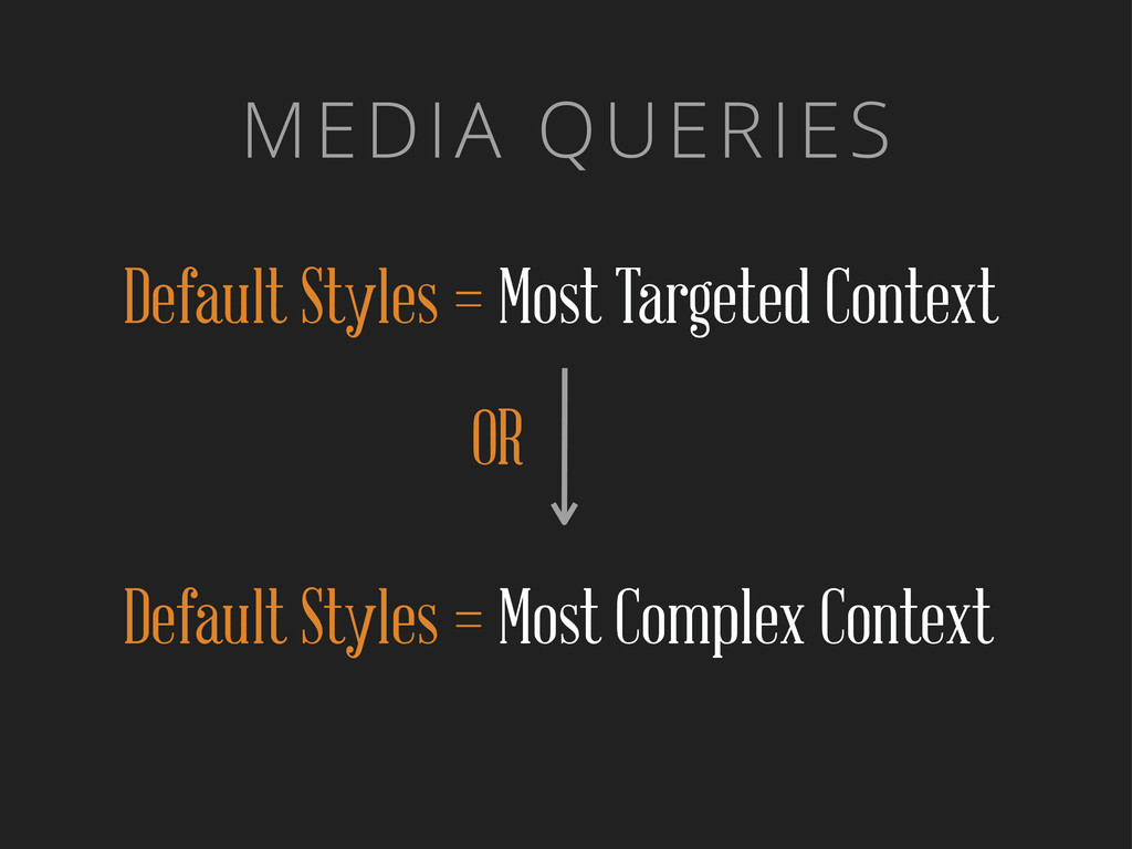 MEDIA QUERIES Default Styles = Most Targeted Co...