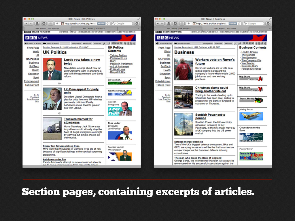Section pages, containing excerpts of articles.
