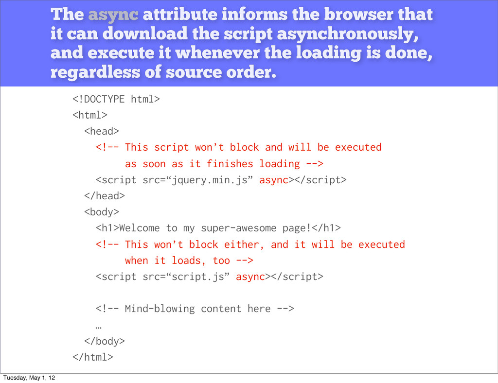 The async attribute informs the browser that it...