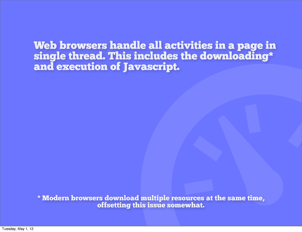 Web browsers handle all activities in a page in...