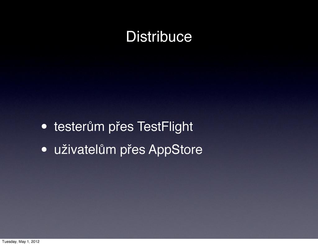 Distribuce • testerům přes TestFlight • uživate...