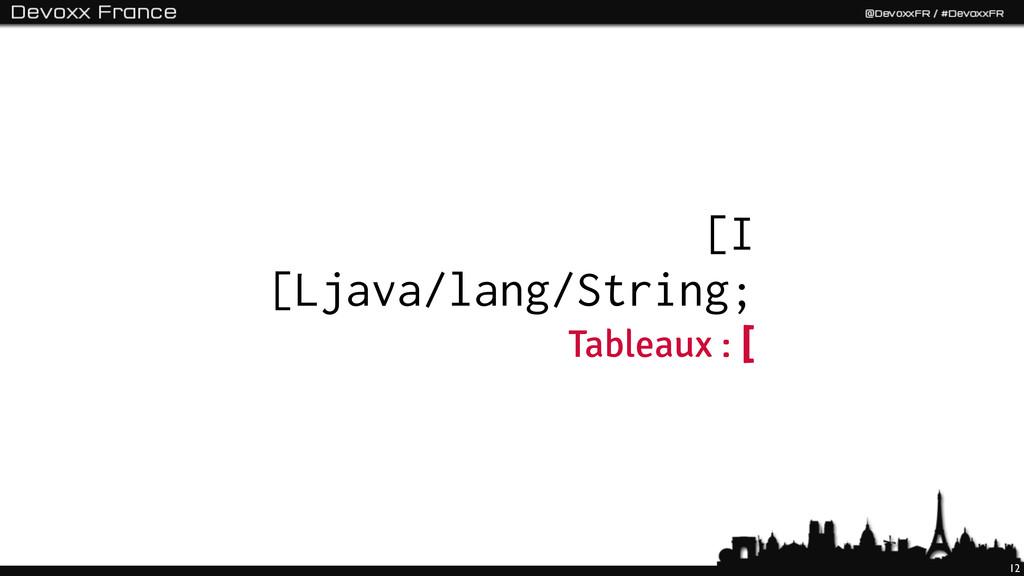 12 [I [Ljava/lang/String; Tableaux : [
