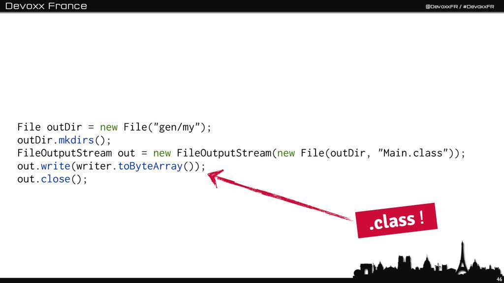 "46 File outDir = new File(""gen/my""); outDir.mkd..."