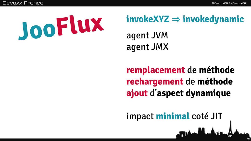 90 JooFlux invokeXYZ 㱺 invokedynamic agent JVM ...