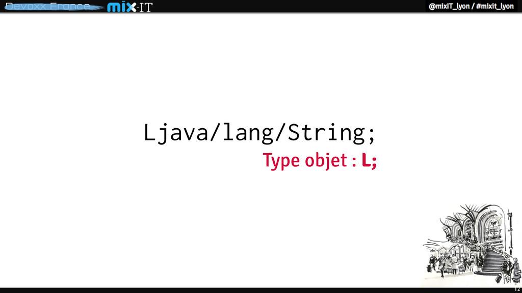 12 Ljava/lang/String; Type objet : L;