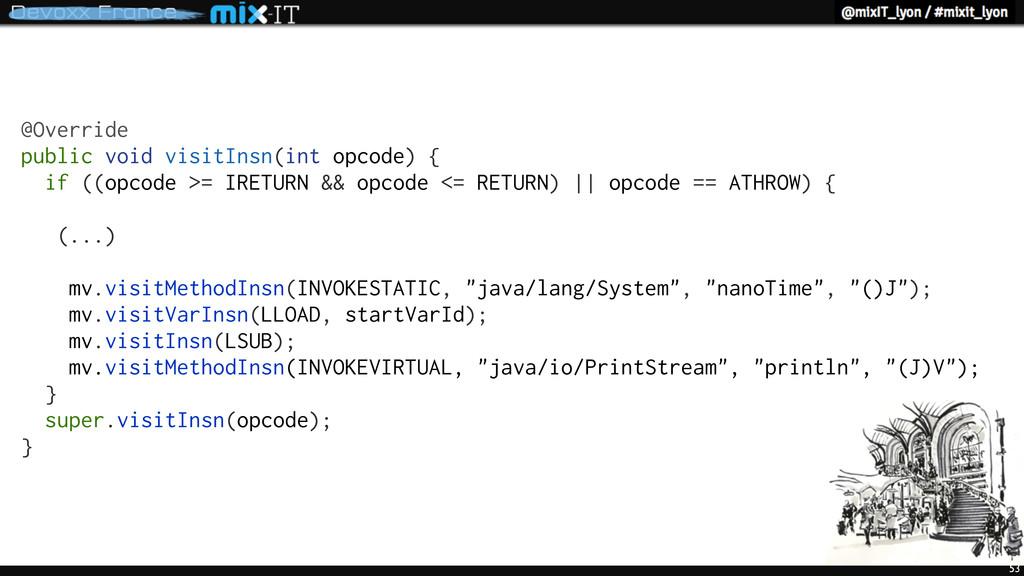 53 @Override public void visitInsn(int opcode) ...
