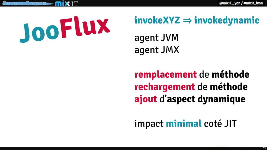 91 JooFlux invokeXYZ 㱺 invokedynamic agent JVM ...