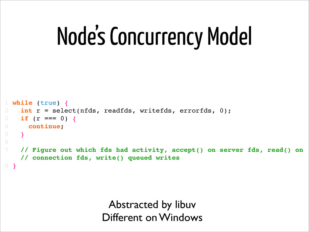 Node's Concurrency Model 1 while (true) { 2 int...