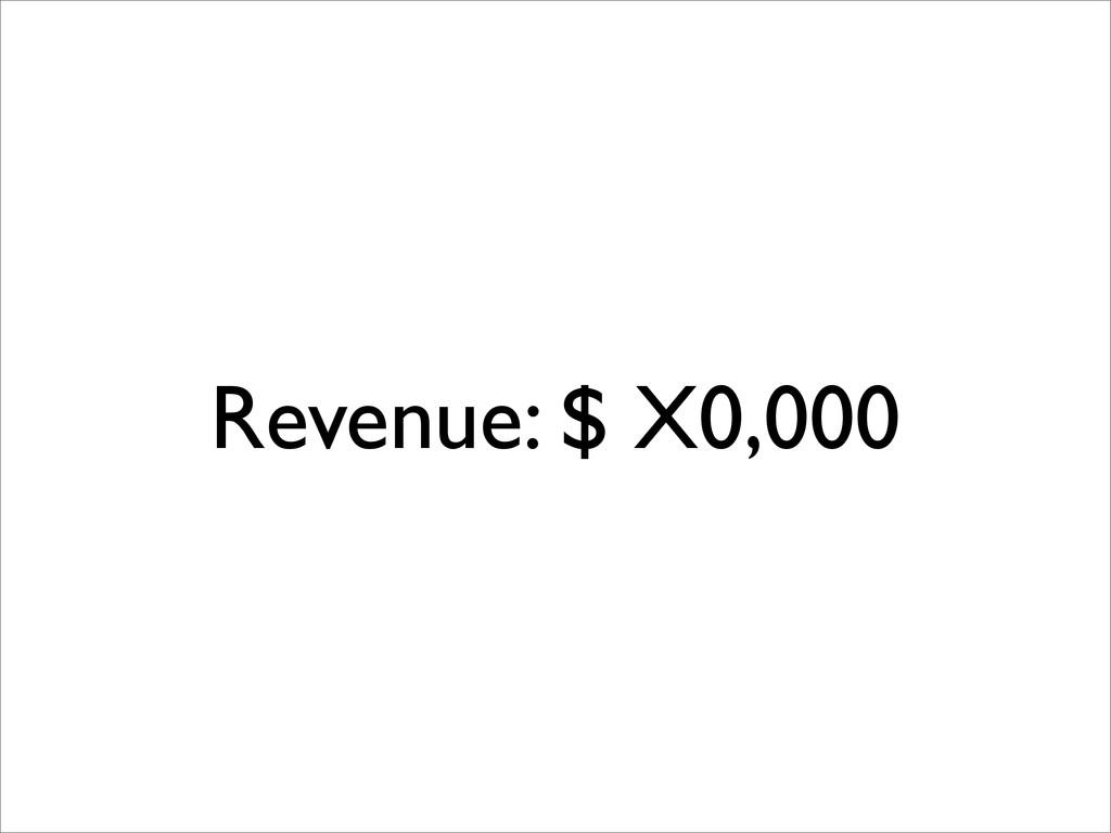 Revenue: $ X0,000