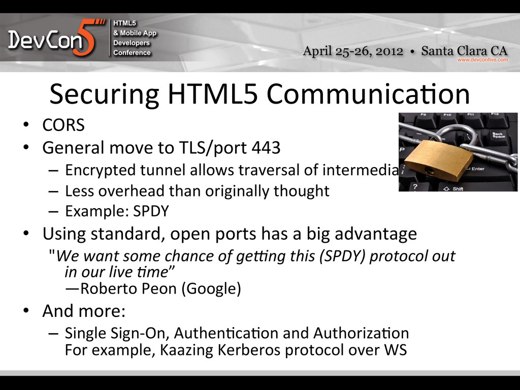 Securing HTML5 Communica-on  • CORS...