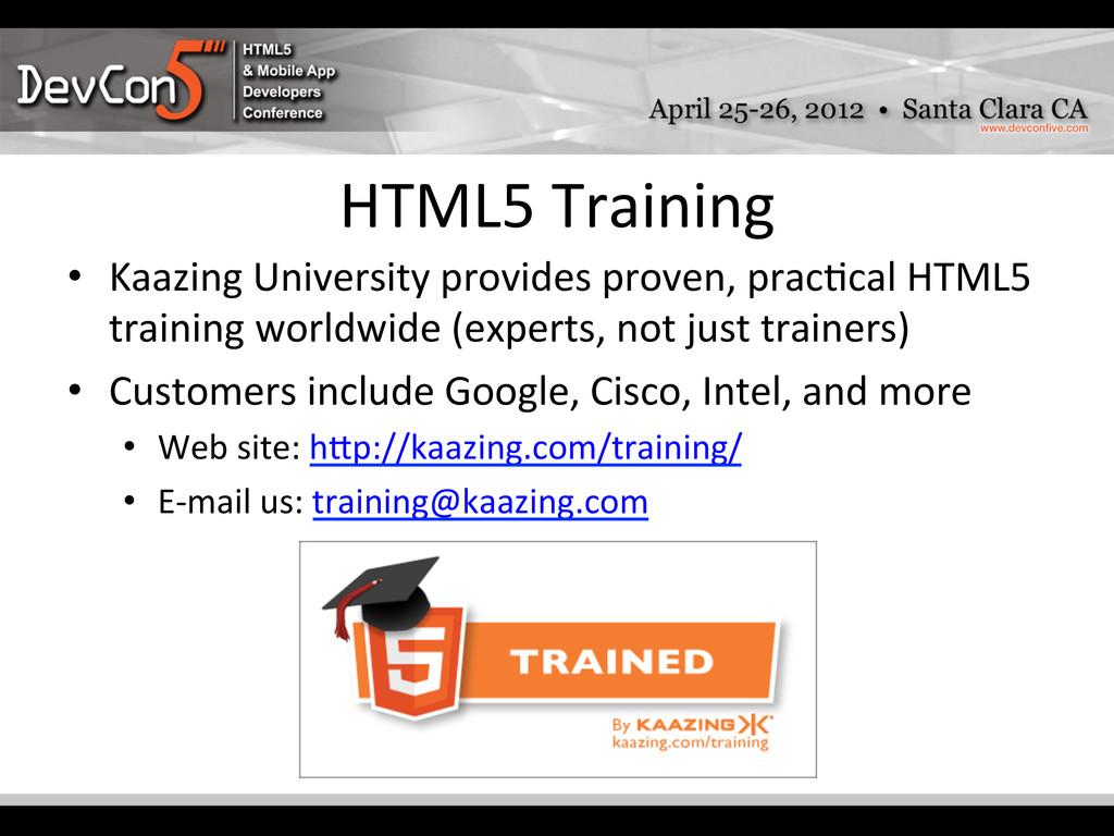 HTML5 Training  • Kaazing University...