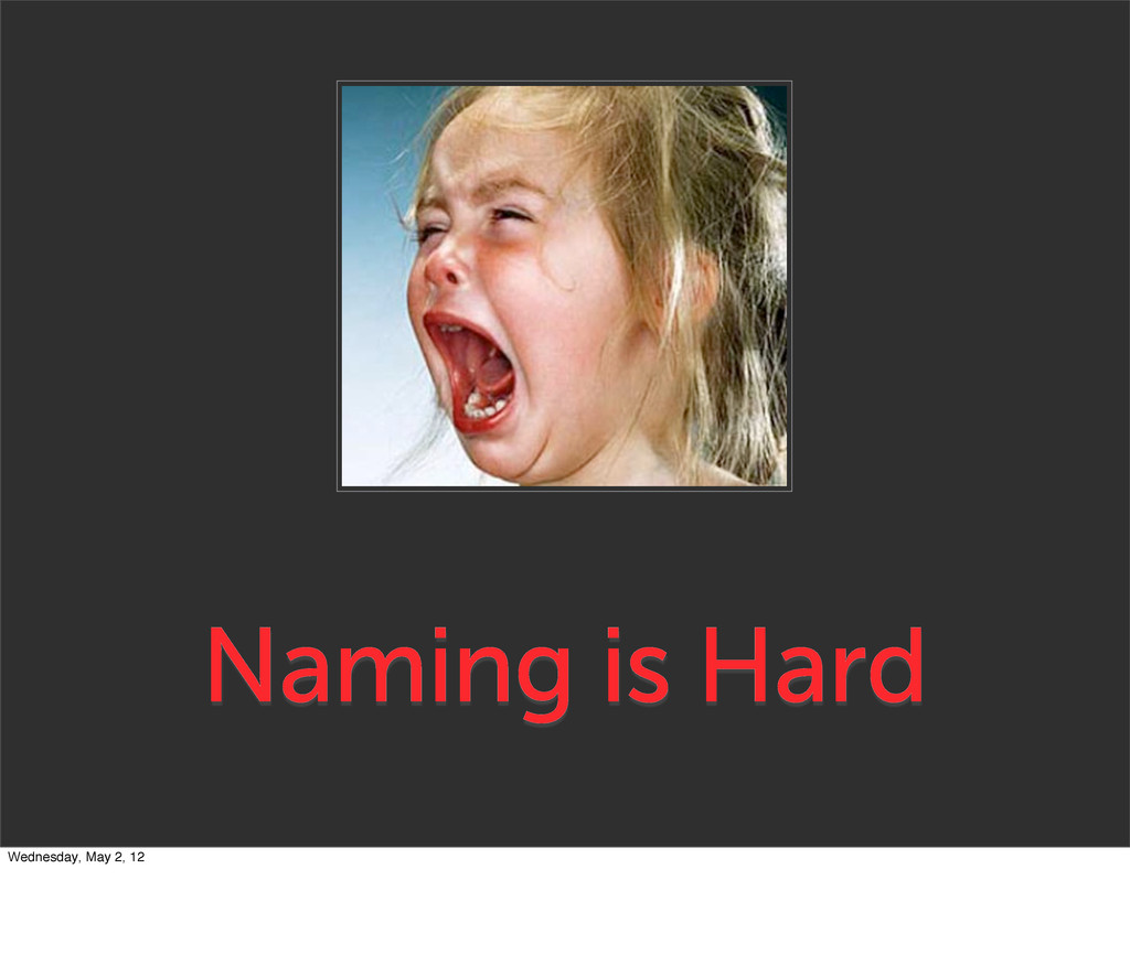 Naming is Hard Wednesday, May 2, 12