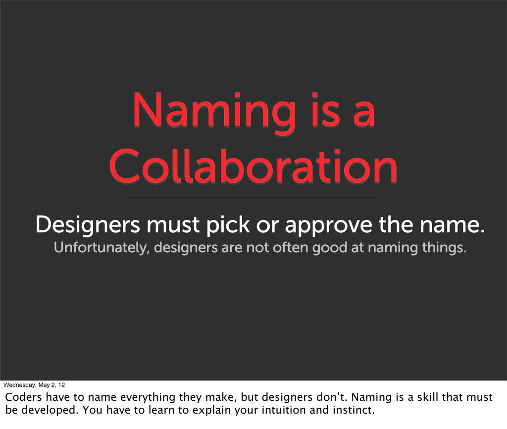 Naming is a Collaboration Designers must pick o...